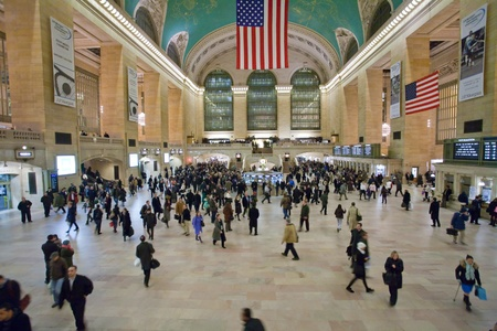 NEW YORK CITY - JANUARY 29: crowd of commuters and tourists in the grand central station in the evening of working day in January 29, 2010 in New York City, USA