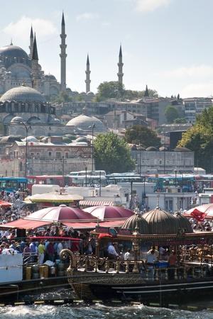 lesser: ISTANBUL - SEPTEMBER 10: Lesser Bayram  - people eat in floating reustarant during celebration on September 10,2010 in Istanbul, Turkey