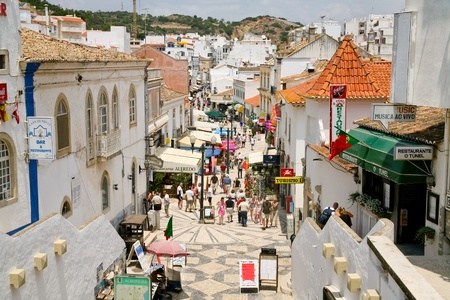 main street in Albufeira, Portugal, on June 17, 2006