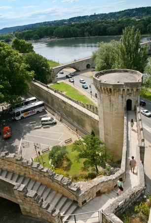 apostolic: castle wall in Avignon, France on July 7, 2008 Editorial