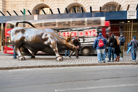 charging bull: Charging Bull monument in New York on February 05, 2010