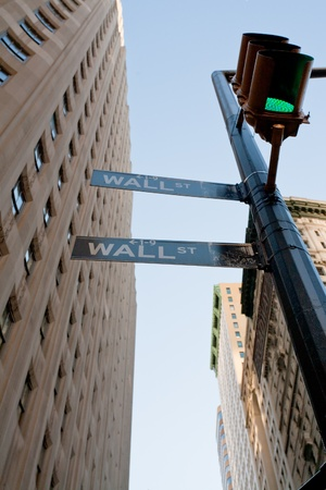 New York, USA - February 5: crossing of Wall St and Broadway in NY in February 5, 2010 in New York USA