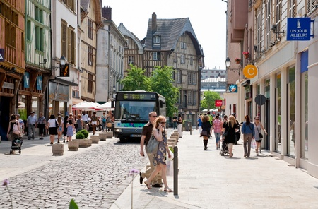 shoping street in Troyes, France on June 29, 2010