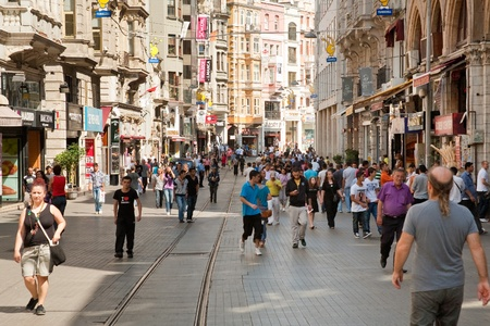 Istiklal Avenue in the Beyoglu district is one of the most famous avenues in Istanbul on September 9,2010 in Istanbul, Turkey