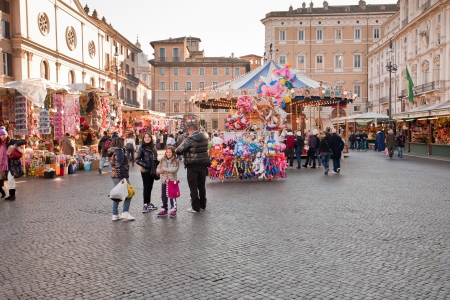 Xmas fair on piazza Navona in Rome, Italy  on December 16, 2010
