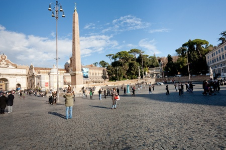 Piazza del Popolo is a large urban square in Rome, Italy on December 18, 2010 Stock Photo - 9434132