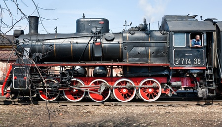MOSCOW,RUSSIA - APRIL 24: tourist attraction - working steam locomotive on April 24? 2011 in Moscow, Russia Stock Photo - 9434134