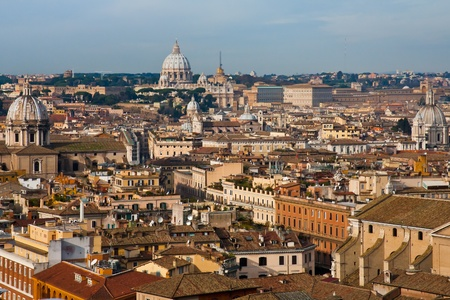 view on old town and St Peter Basilica, Rome, Italy