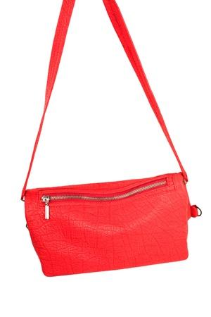 pochette: small vermilion leather bag Stock Photo