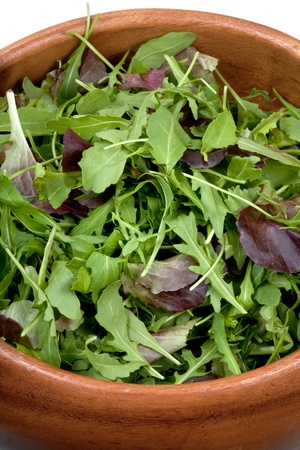 fresh salad mix in wooden bowl closeup Stock Photo - 9557059