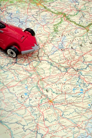 traveling by car on world map photo