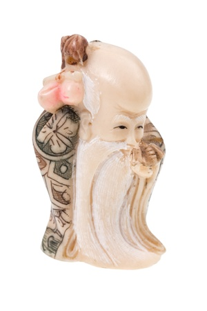 indent: statuette of Chinese god - Shou-Xing Stock Photo