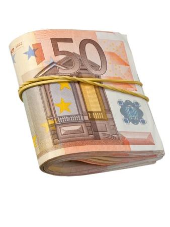 50-euro-bankbiljetten onder rubber band Stockfoto