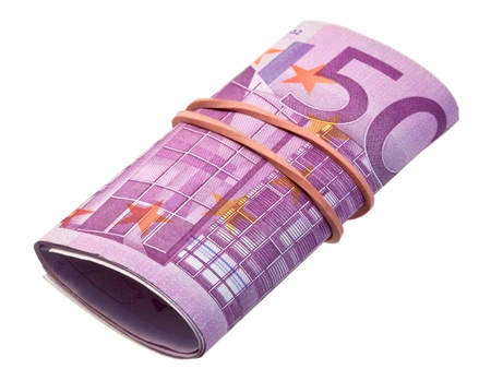 batch of euro: five-hundredth banknotes under rubber band