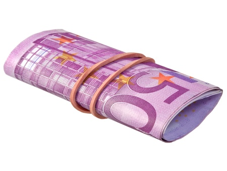 payola: five hundred euro banknotes under rubber band Stock Photo