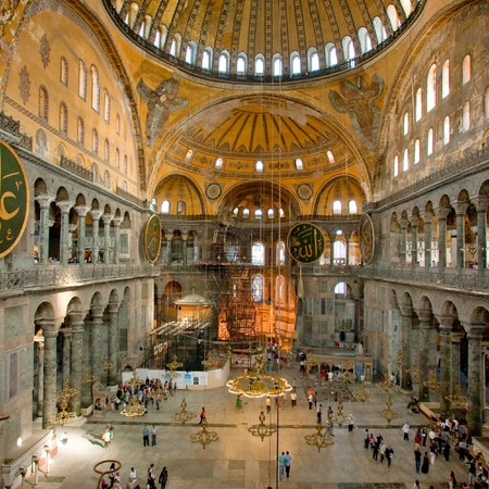 constantinople ancient: Interior of Aya Sophia - ancient  Byzantine basilica on September 10, 2010 in Istanbul, Turkey