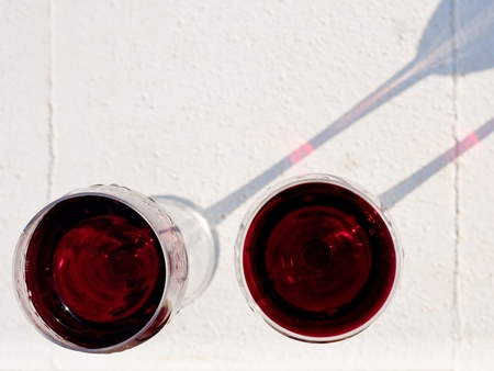 above view on two red wine glasses outdoor Stock Photo - 10073967