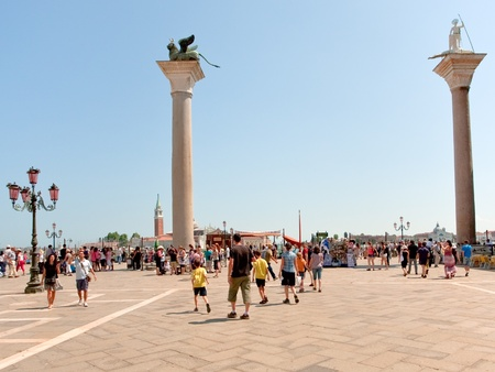 VENICE, ITALY - JUNE 23: crowd of tourist  on Piazzetta San Marco on June 23, 2011 in Venice, Italy