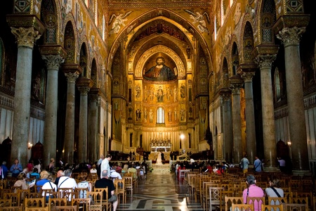 church interior: interior of Duomo di Monreale, cathedral near Palermo, Sicily Editorial