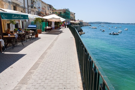 SYRACUSE, ITALY - JULY, 3: seafront in Syracuse, Sicily in summer day on July 3, 2011