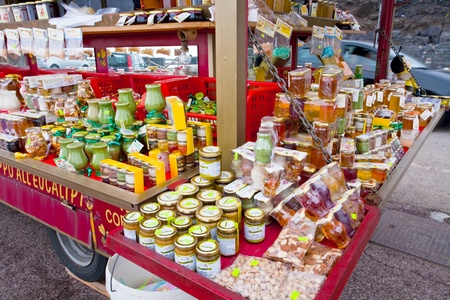region sicilian: local honey shop on tourist station Rifugio Sapienza on Etna in Sicily on July 7, 2011
