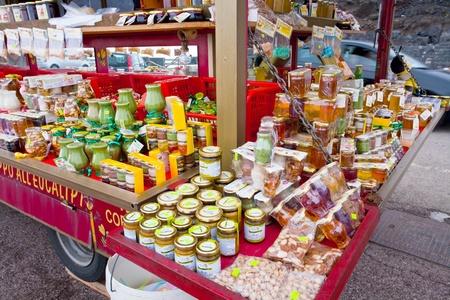 local honey shop on tourist station Rifugio Sapienza on Etna in Sicily on July 7, 2011 Stock Photo - 10339887