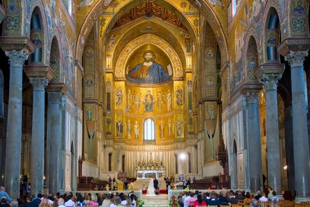 june 25: wedding in ancient Norman style cathedral -  Duomo di Monreale, Palermo, Sicily, Italy on June 25, 2011 Editorial