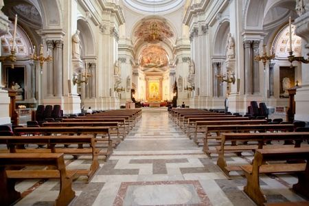 pew: interior of Palermo Cathedral, Sicily, Italy