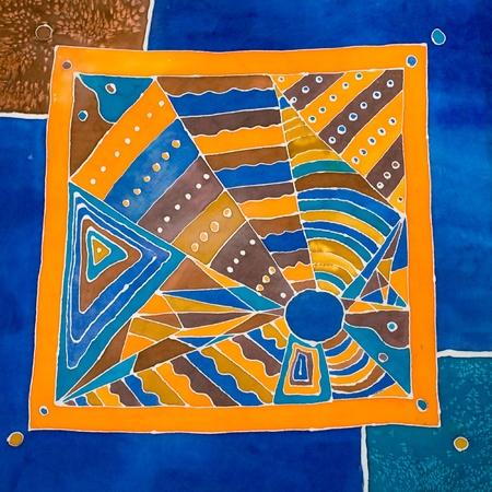 abstract geometrical pattern on silk batik photo