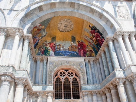 doges: gold mosaic in gate portal of San Marco Cathedral Basilica, Venice, Italy Stock Photo
