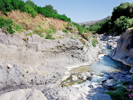 riverbed of river Alcantara, Sicily, Italy photo