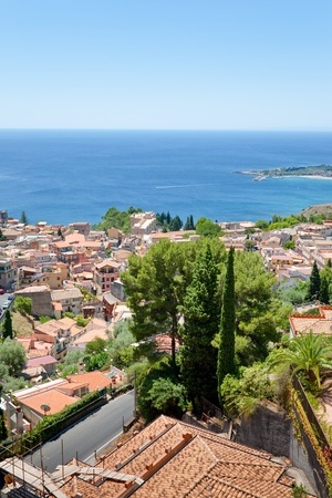 ionian: view on town Taormina on Ionian coast, Sicily