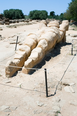 valley of the temples: antique Atlant sculpture in Valley of the Temples, Agrigento, Sicily