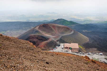 view on tourist station Rifugio Sapienza on Etna in Sicily on July 7, 2011 photo