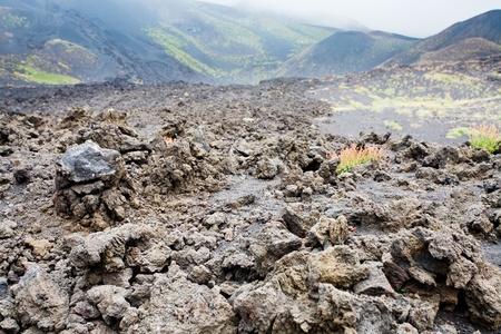 volcano slope: lava rocks close up on volcano slope of Etna, Sicily