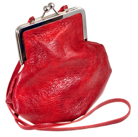 pochette: small old-fashioned red leather lady