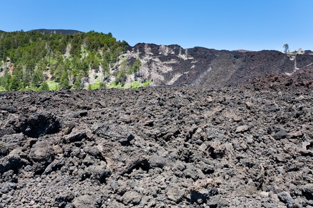 hardened: hardened lava flow on volcano slope of Etna, Sicily