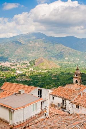 mountain valley in Sicily, view from town Castiglione di Sicilia photo