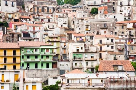 dense houses in sicilian mountain town Castiglione di Sicilia photo