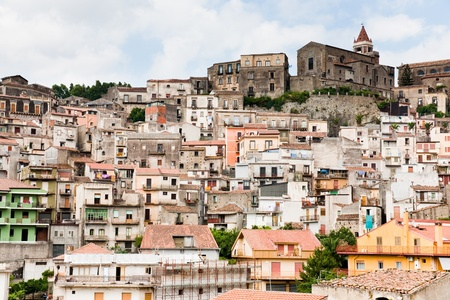 dense houses in ancient sicilian mountain town Castiglione di Sicilia photo