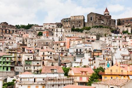 dense houses in ancient sicilian mountain town Castiglione di Sicilia photo