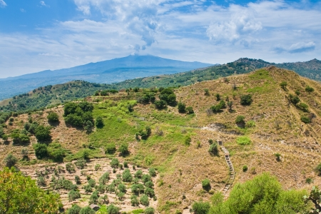 region sicilian: sicilian landscape - view on Etna in summer day