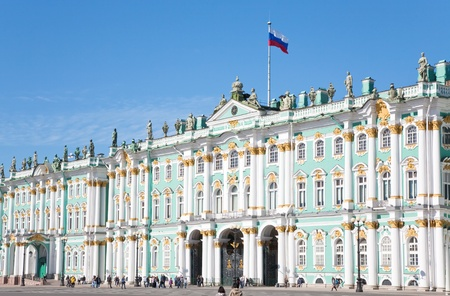 Russian state flag on Winter Palace, St.Petersburg, Russia on September, 6, 2011