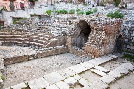antique roman amphitheater Odeon, Taormina, Sicily, Italy photo