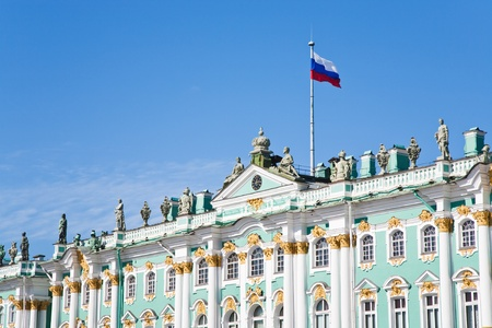 Russian state flag on Winter Palace, St.Petersburg, Russia on September 6, 2011
