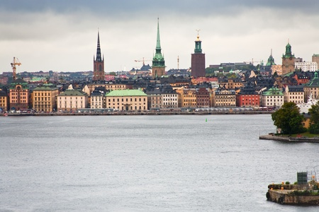 view on Gamla Stan, Stockholm from Strommen bay, Sweden photo