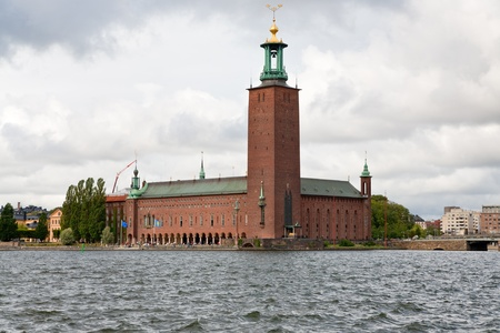 view on Stockholm City Hall, Sweden in overcast day photo