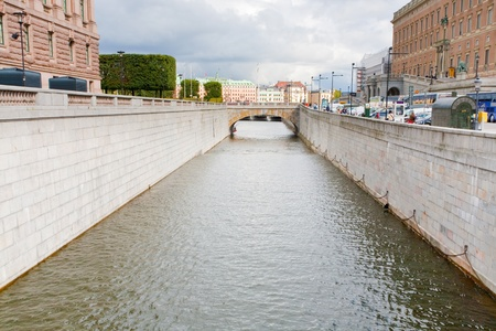 urban water canal and bridge in Stockholm, Sweden
