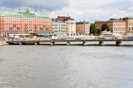 STOCKHOLM, SWEDEN - SEPTEMBER, 8:  view on waterfront and Grand Hotel in Stockholm, Sweden on September 8, 2011