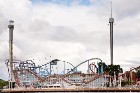 seafronts: roller coaster in Tivoli amusement park in Stockholm, Sweden Editorial
